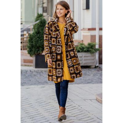 Mintás gyapjú kabát