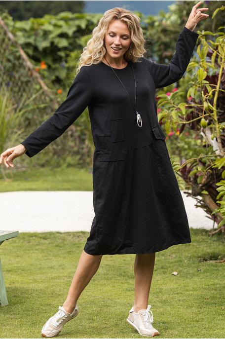 Pamut/vászon ruha nagy zsebbel