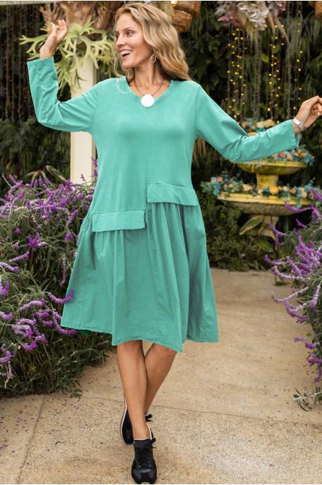 Pamut/vászon ruha lépcsőzetes varrással