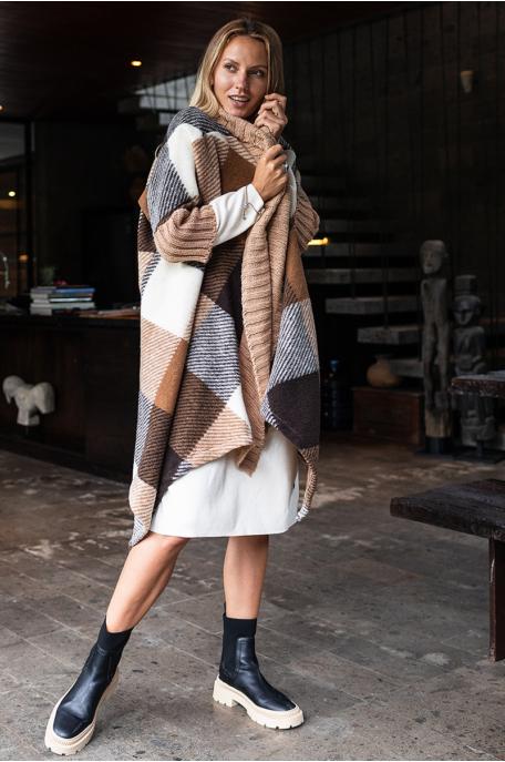 Gyapjú kabát kötött passzéval