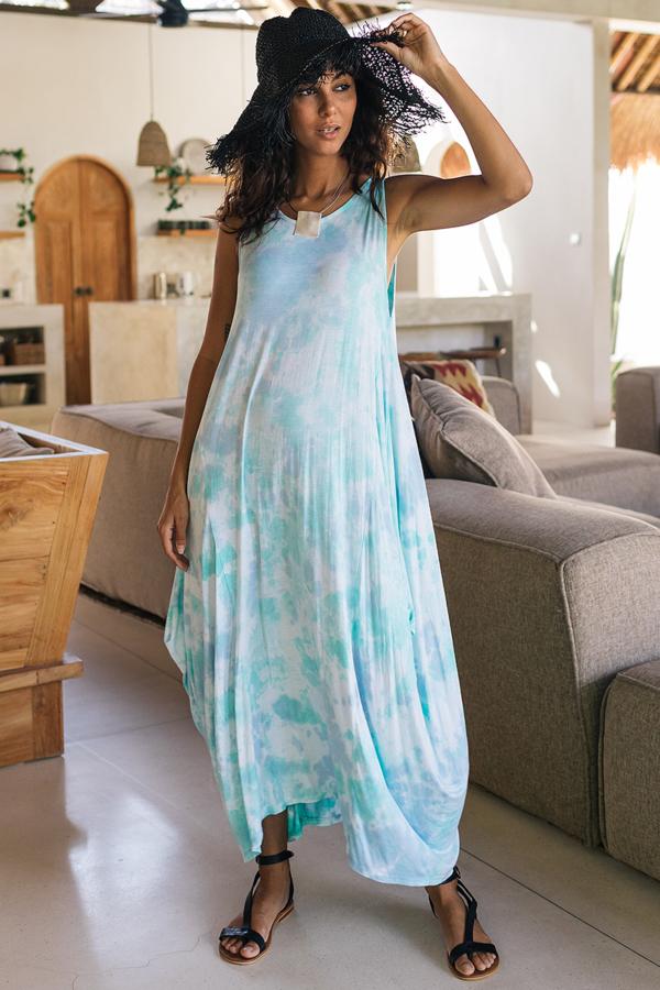 Batikolt ujjatlan maxi ruha