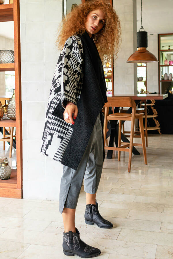 Pepita mintás gyapjú kabát